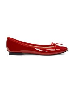 红色Cendrillon漆皮芭蕾平底鞋