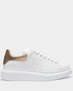 Oversize Sneakers in White and Rose Gold Leather