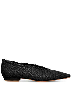 10毫米编织皮革芭蕾平底鞋