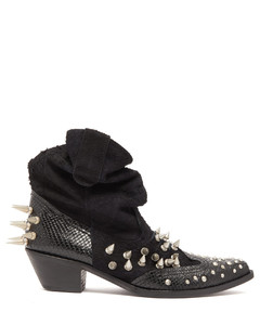 Spiked suede and snake-effect leather boots
