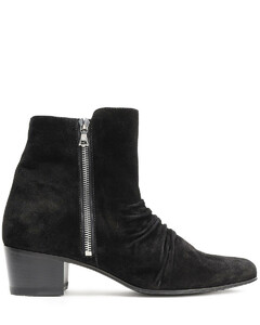 Woman Ruched Suede Ankle Boots