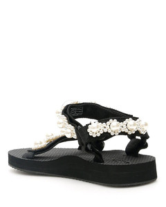 Trekky Chic black faux pearl-embellished sandals