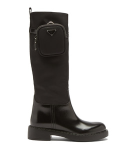 Pouch leather and nylon knee-high boots