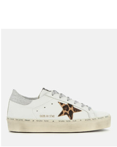 Women's Hi Star Flatform Trainers - White Leather/Leopard Lurex Lace