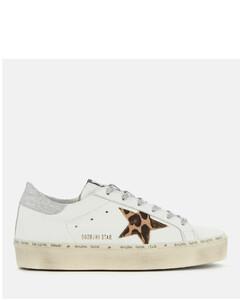 Women's Hi Star Flatform Trainers - White Leather/Leopard Lurex Lace
