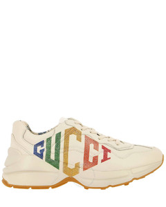 Rhyton Glitter Gucci Leather Sneakers