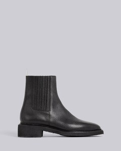Black Pebbled Calfskin Crepe Sole Chelsea Boot