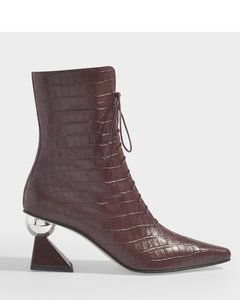 Gloria Glam Heel Boots In Burgundy Croc Embossed Leather