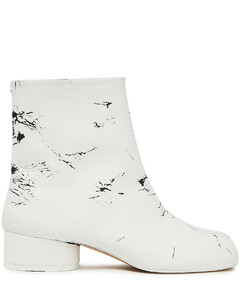 Woman Split-toe Cracked Leather Ankle Boots