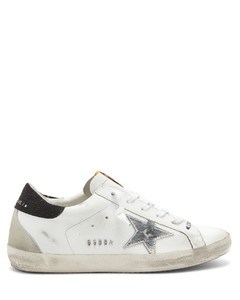 Superstar glitter-panelled leather trainers
