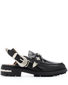 黑色Spice Wedge皮革涼鞋