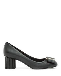 Capua 55 black calf flower heel pumps
