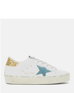 Women's Hi Star Flatform Trainers - White Leather/Petrol Star/Gold Glitter