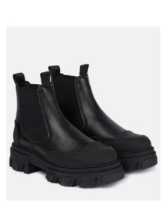 皮革切尔西短筒及踝靴
