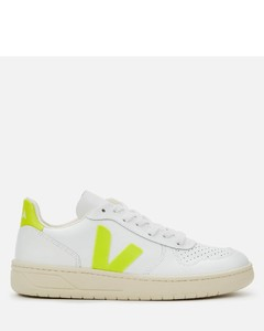 Women's V-10 Leather Trainers - Extra White/Jaune Fluo