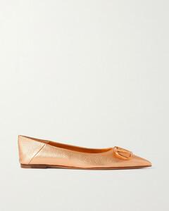 Go Logo Metallic Textured-leather Collapsible-heel Point-toe Flats