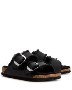 Arizona black shearling-lined leather sliders