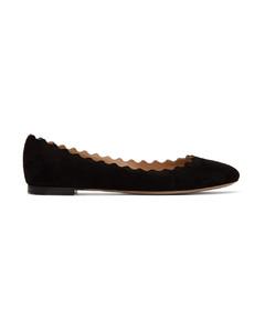 黑色Lauren绒面革芭蕾鞋