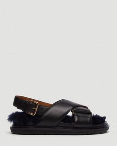 Shearling Lined Fussbett Sandals in Black