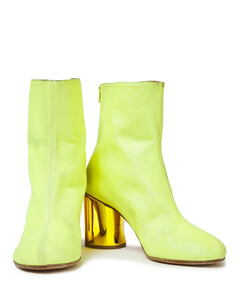 Woman Glittered Neon Faux Suede Ankle Boots