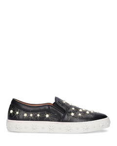 Slip-On COSMIC PEARLS nappa leather Beads black