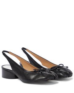Tabi皮革露跟高跟鞋