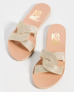 Mesh and Chain Sandal Black