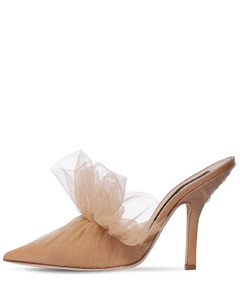 105mm Faux Patent Leather & Tulle Mules