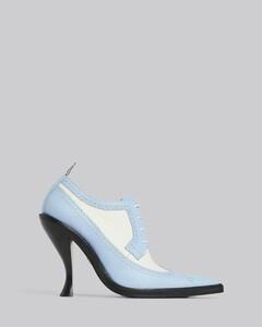 卵石纹布洛克高跟鞋