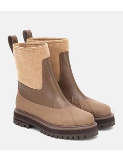 Regent皮革和羊绒及踝靴