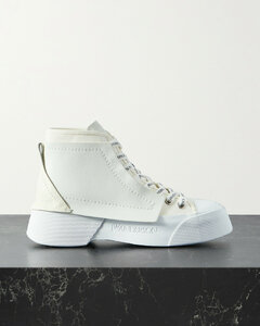 Paneled Leather And Canvas High-top Sneakers