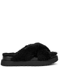 Fuzz Sugar black shearling slippers