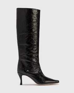 Stevie 42 Black Creased Leather Boot