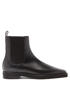 Square-toe leather Chelsea boots