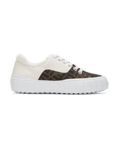 棕色&白色Fendi Force运动鞋