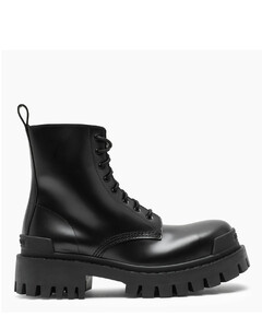 Black lace-up military boots