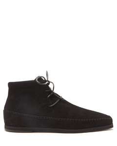 Square-toe lace-up suede ankle boots