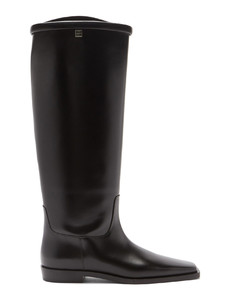 Square-toe leather knee-high boots