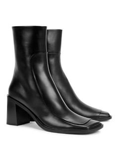 Patch 75 black leather ankle boots