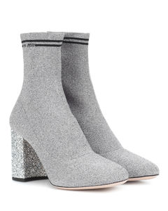 Stretch-knit ankle boots