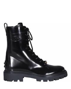 Logo Embossed Combat Boots