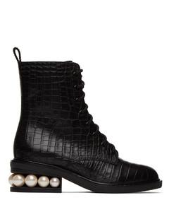 黑色Casati鳄鱼纹压花中筒靴