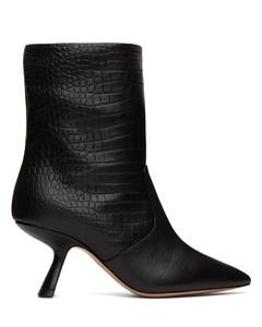 黑色Lexi鳄鱼纹压花中跟踝靴