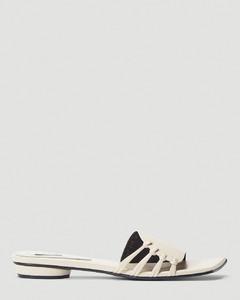 Knot-Detail Slip-On Sandals in White