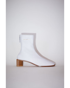 Branded leather boots