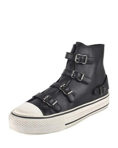 Black Virgin Leather Trainers