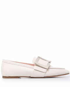 Metal buckle leather loafers