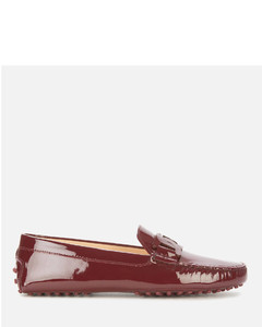 Women's Gommino Patent Leather Driving Shoes - Burgundy