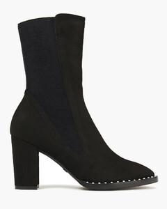 Woman Faux Pearl-embellished Suede Ankle Boots