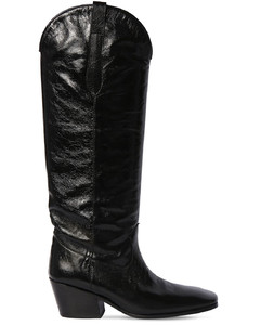 60mm Willa Creased Leather Tall Boots